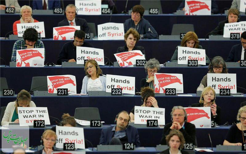 پارلمان-اروپا-صحنه-اعتراض-به-مکرون-و-حمله-سوریه-شد